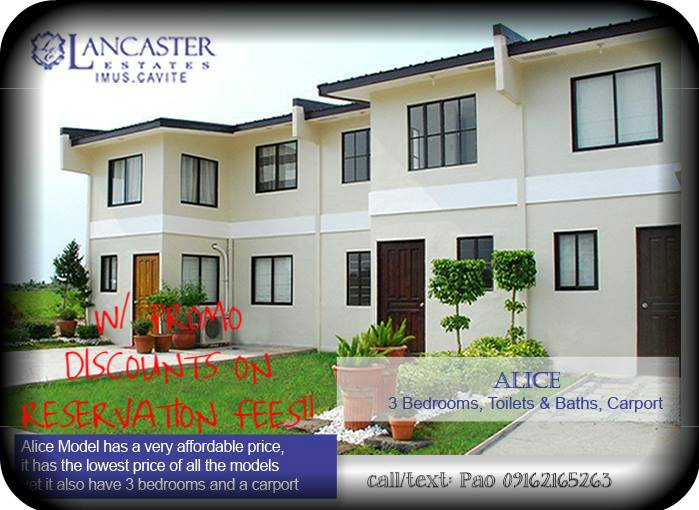 Alice (townhouse)    ALICE TH @ Lancaster Estates Imus Cavite