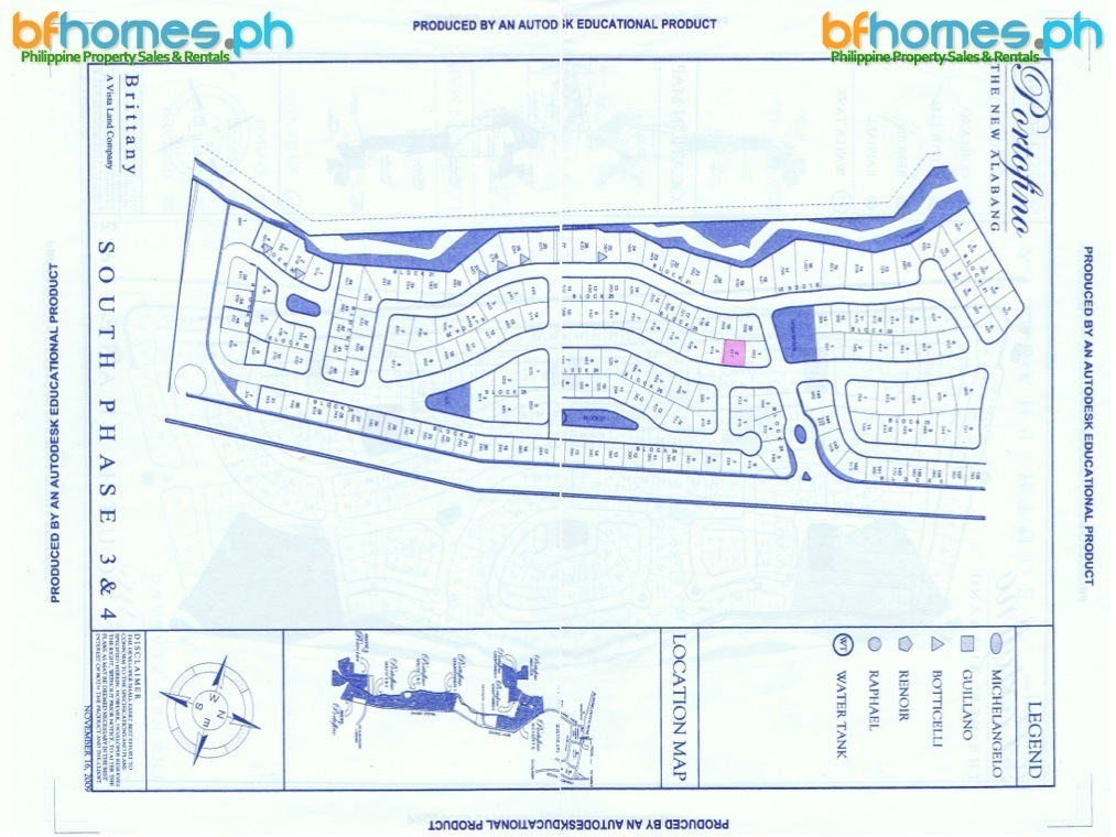 Lot for Sale in Portofino South 417sqm.