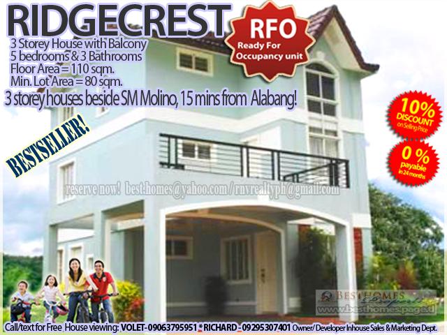 ridgecrest village in sm molino 3storey 5BR 3TB