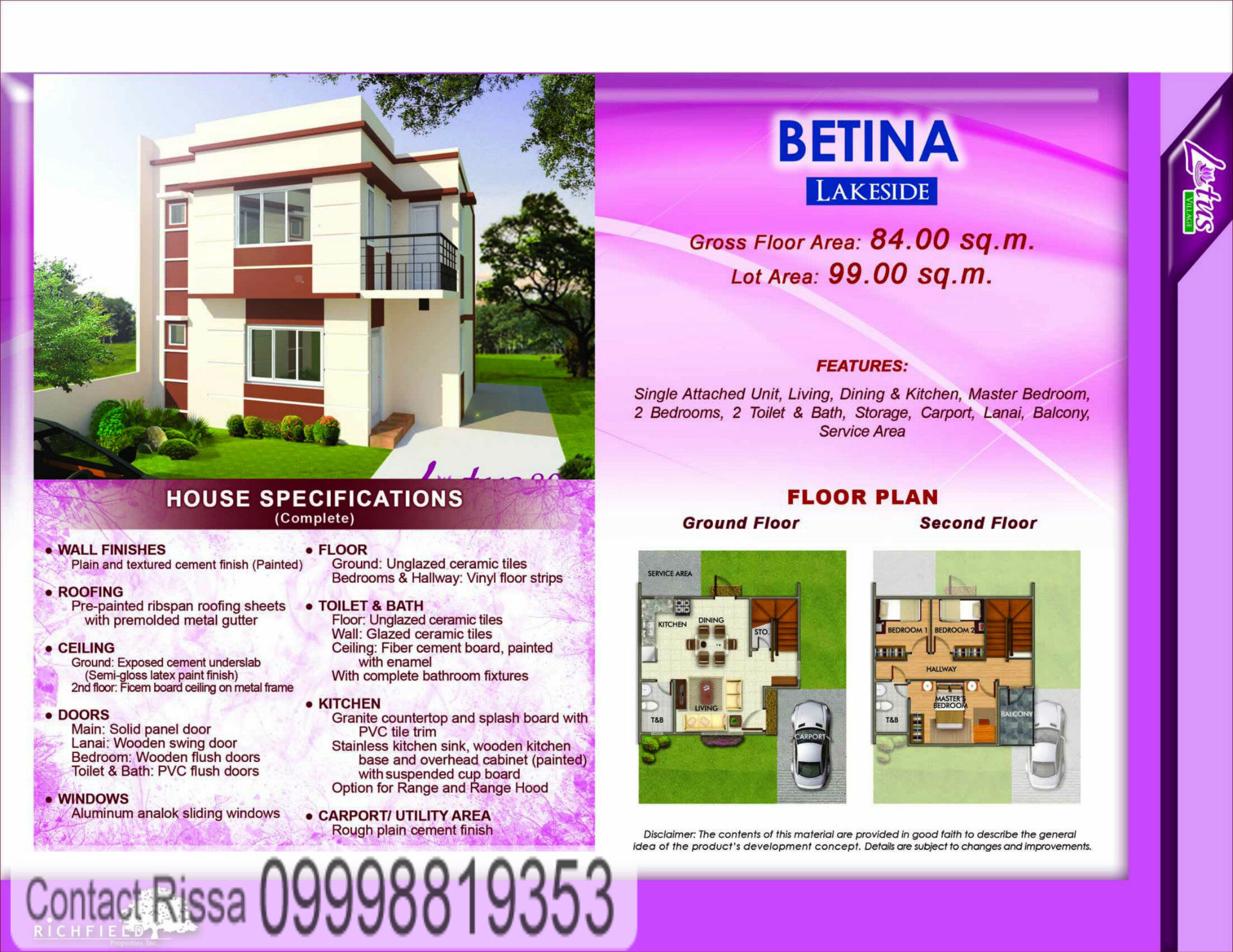 Betina House Specification