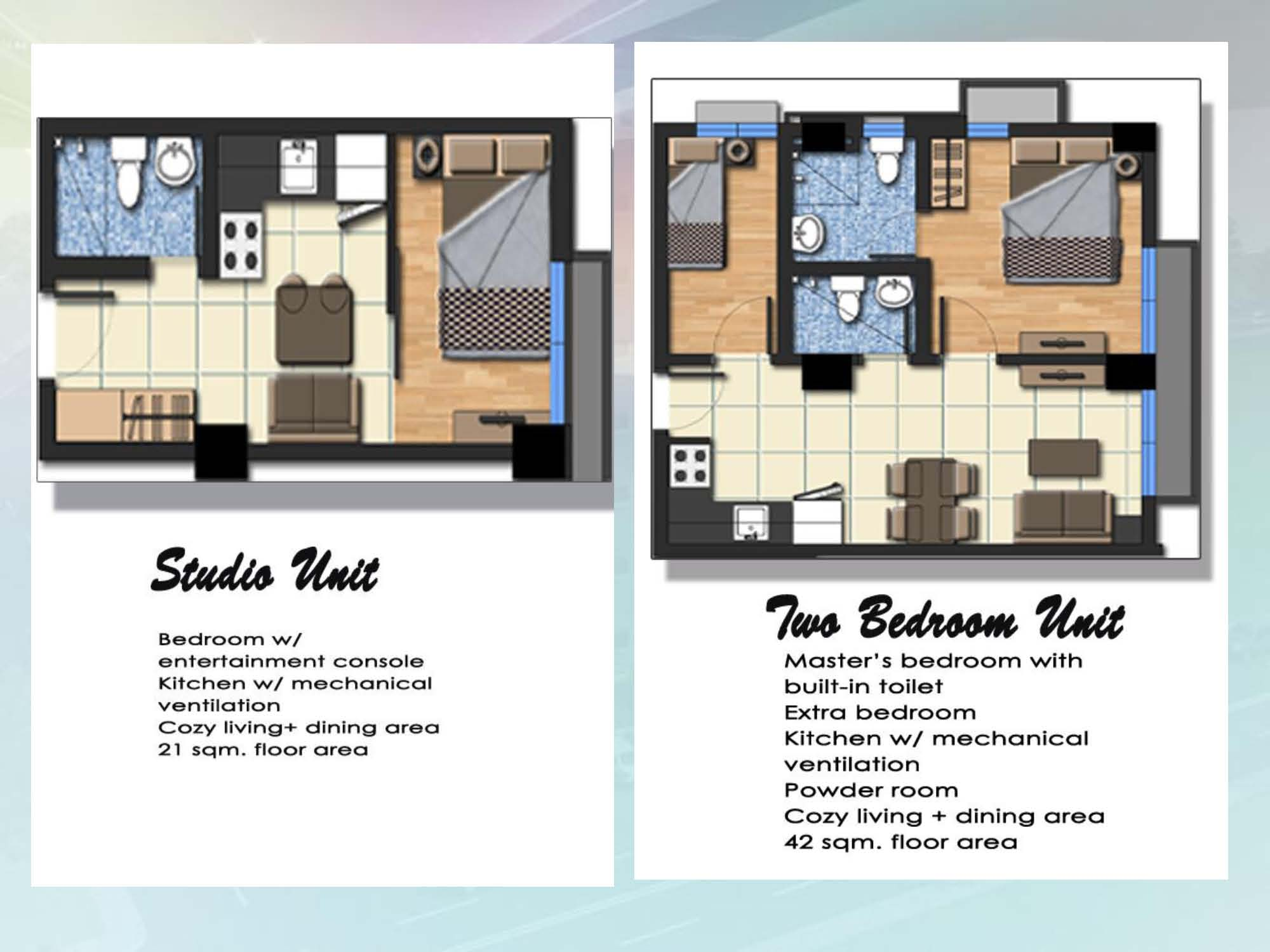 Studio and 2 BR unit layout