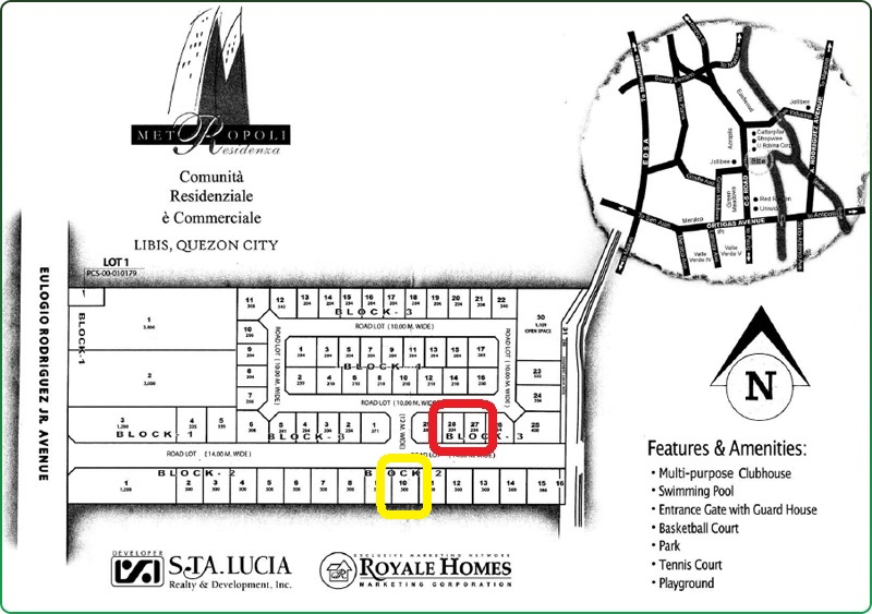 Subdivision Plan - RED (Residential Lots); Yellow (Commercial Lot)