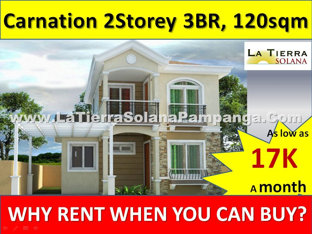 Quality Affordable House and Lot For Sale Pampanga, Carnation House, 2 storey Single Detached House, 3 Bedrooms, 120sqm