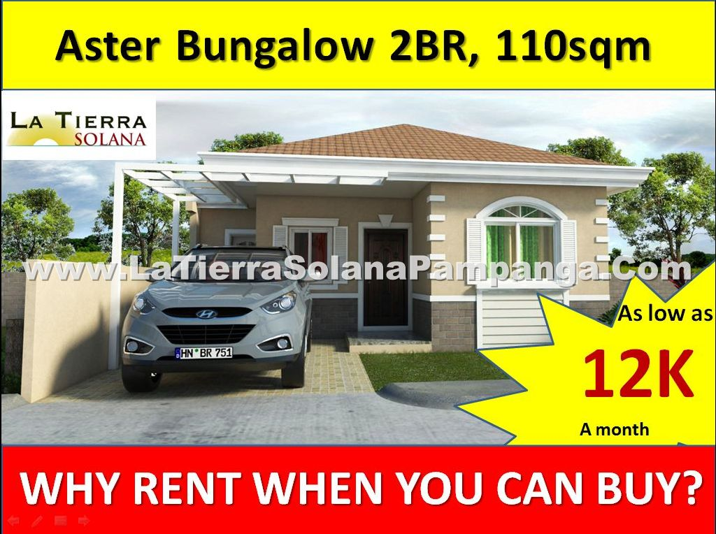 Quality Affordable House and Lot for Sale Pampanga, La Tierra Solana, Aster Bungalow, 2 Bedrooms, 110sqm