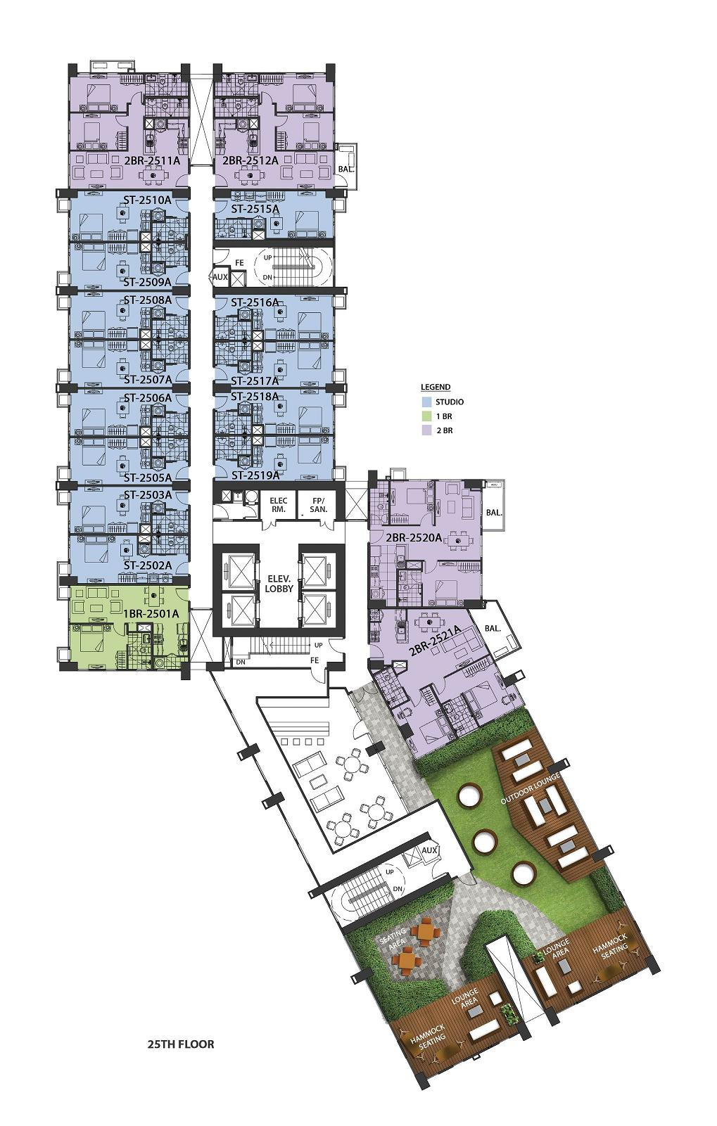 Lazuli - Upper Level Amenity Floor Plan at 25th Floor Plan