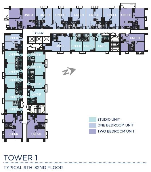 Solinea Tower 1 - Typical 9th - 32nd Floor Plan