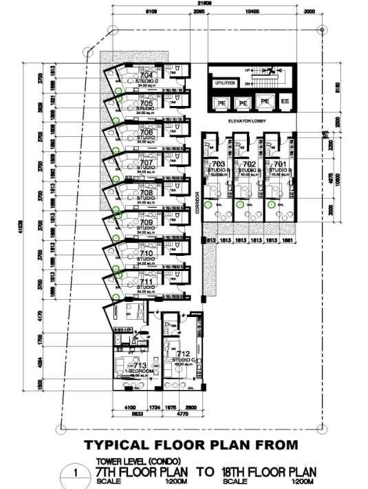Typical 7th - 18th Floor Plan