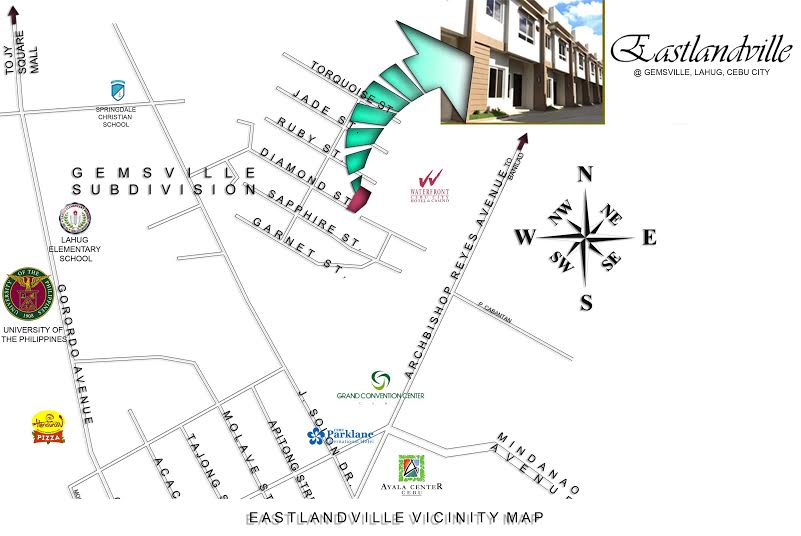 Eastlandville Location Map
