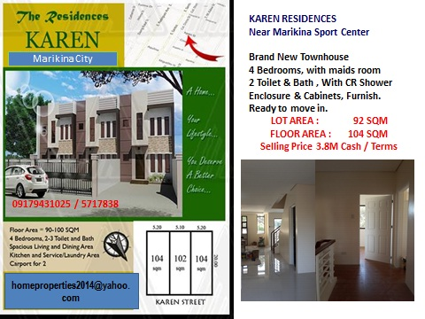 4 Bedroom Unit , Brand New Near Marikina Sport Center Good Location Text  : 09179431025