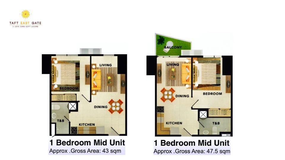 1 Bedroom Mid Unit Floor Plan