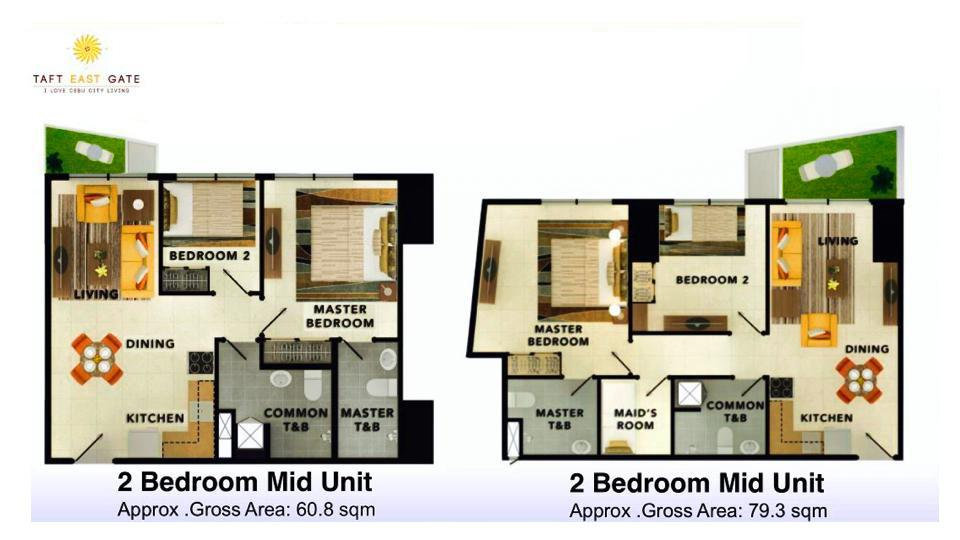 2 Bedroom Mid Unit Floor Plan