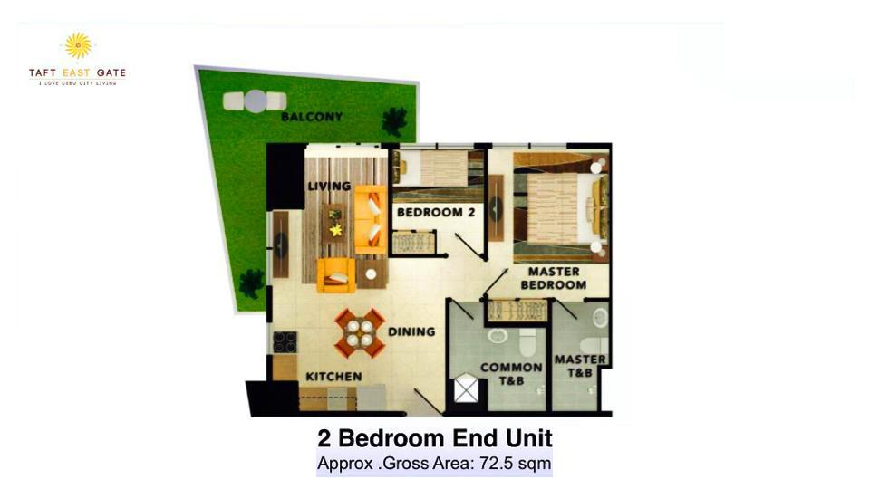 2 Bedroom Layout End Unit Floor Plan