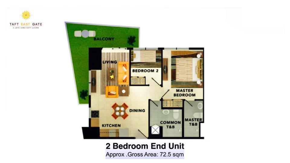 2 Bedroom Layout End Unit Floor Plan