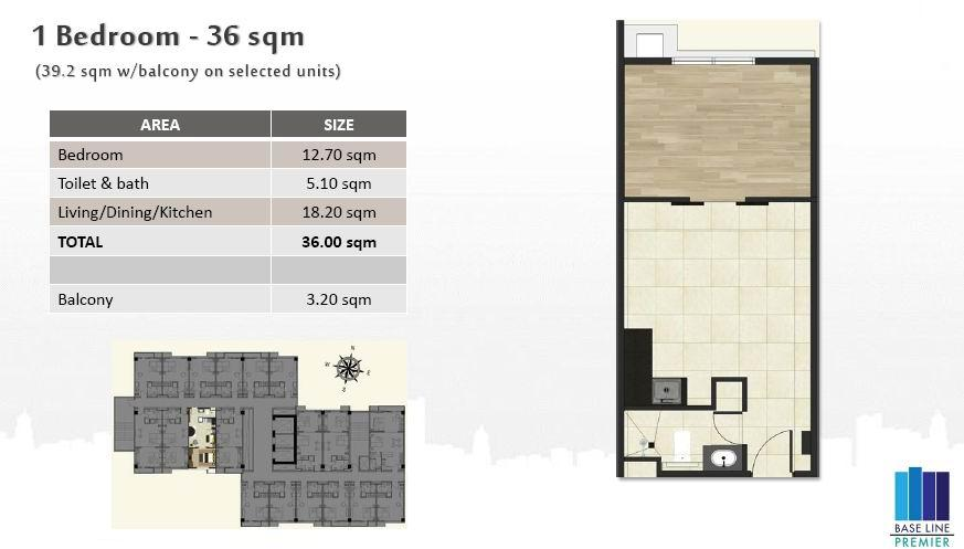 1BR Floor plan with balcony