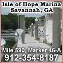 Located directly on the Intracoastal Waterway, Skidaway River at Mile 590, Marker 46-A, Latitude: N 31o 58.78' , Longitude: W 081o 03.35' 2-354-8187