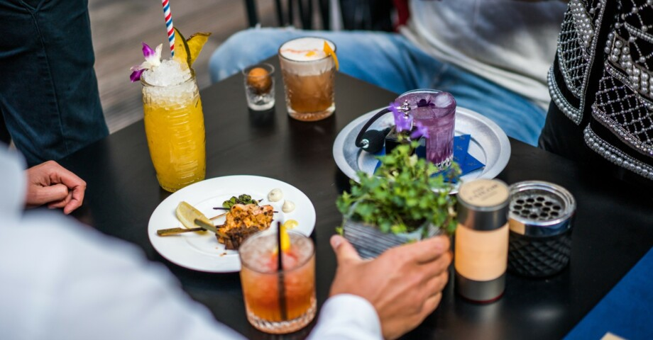 Bespoke cocktails in our outdoor patio!