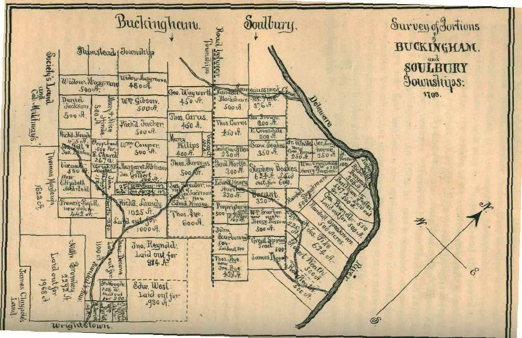 A map of Buckingham and Solebury Township, early 1700's