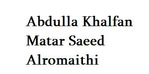 Abdulla Khalfan Matar Saeed Alromaithi