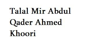 Talal Mir Abdul Qader Ahmed Khoori