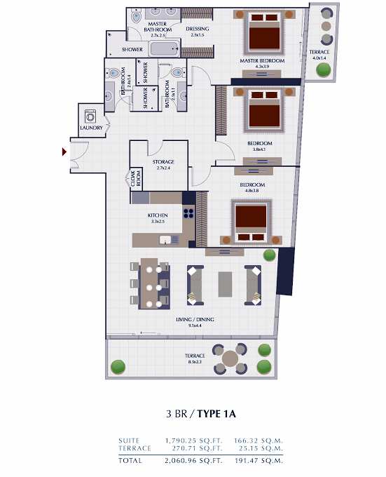 Planning of the apartment 3BR, 2060.96 in Park Gate Residences, Dubai