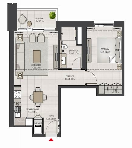 Planning of the apartment 1BR, 759.82 in Creek Edge, Dubai