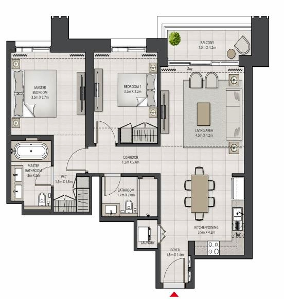 Planning of the apartment 2BR, 1079.62 in Creek Edge, Dubai
