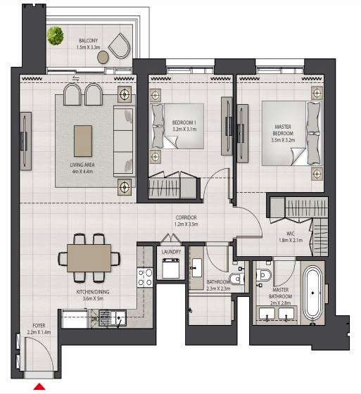 Planning of the apartment 2BR, 1070.04 in Creek Edge, Dubai