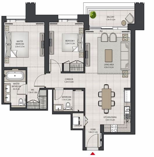 Planning of the apartment 2BR, 1078.12 in Creek Edge, Dubai