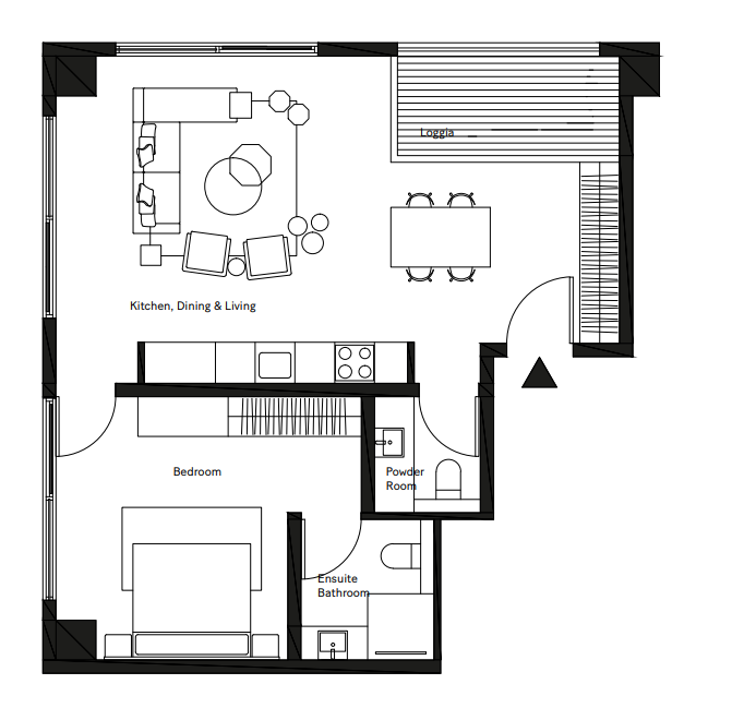Planning of the apartment 1BR, 700.3 in Pixel, Abu Dhabi
