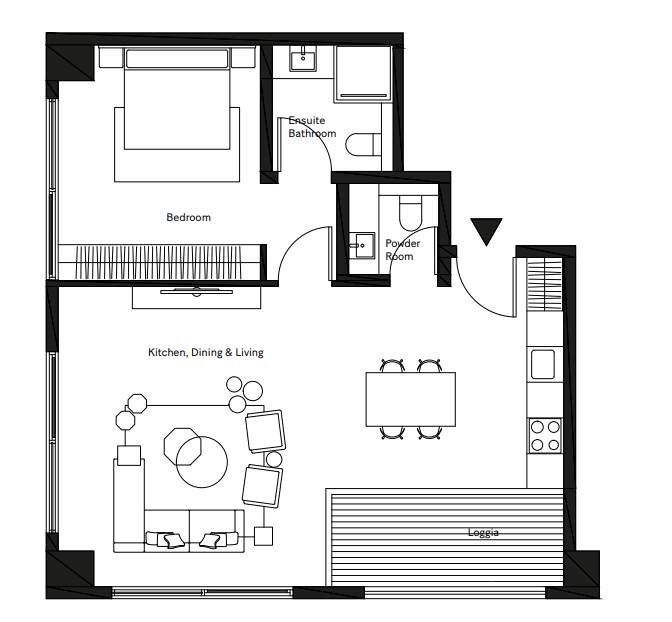 Planning of the apartment 1BR, 725.81 in Pixel, Abu Dhabi
