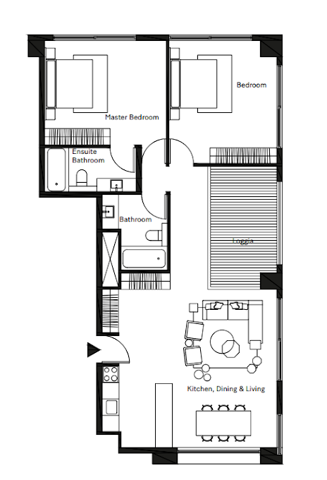 Planning of the apartment 2BR, 1128.27 in Pixel, Abu Dhabi