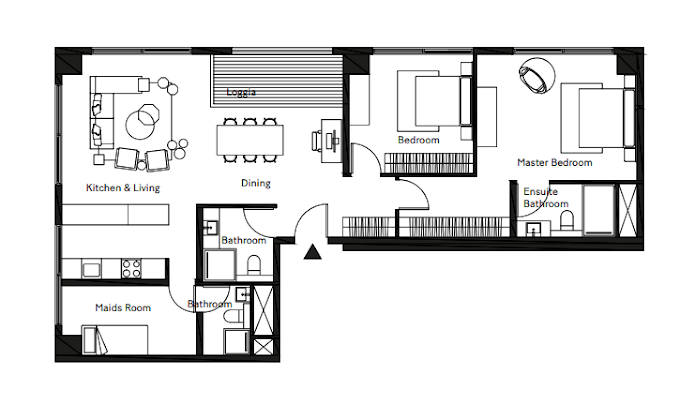 Planning of the apartment 2BR, 1245.17 in Pixel, Abu Dhabi