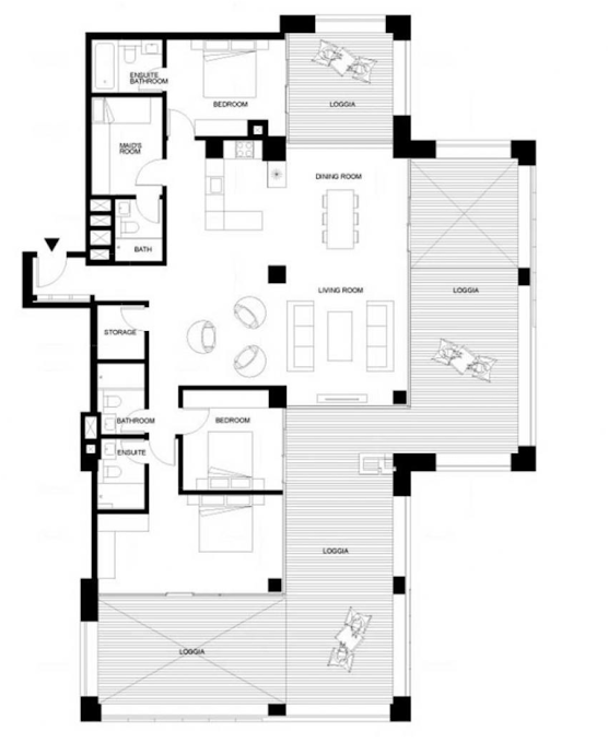 Planning of the apartment 3BR, 3111.85 in Pixel, Abu Dhabi