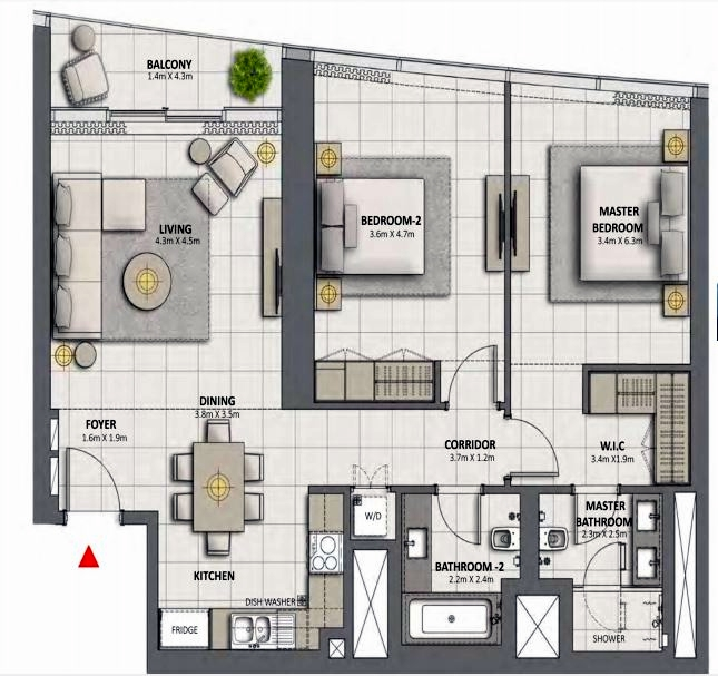 Planning of the apartment 2BR, 1194 in Grande at Opera District, Dubai