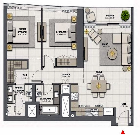 Planning of the apartment 2BR, 1128 in Grande at Opera District, Dubai