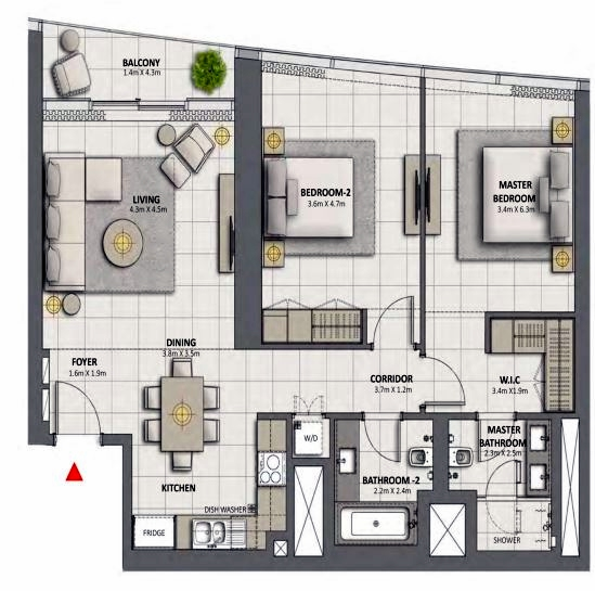 Planning of the apartment 2BR, 1194.15 in Grande at Opera District, Dubai