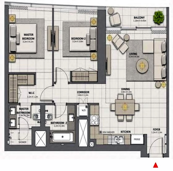 Planning of the apartment 2BR, 1128.49 in Grande at Opera District, Dubai