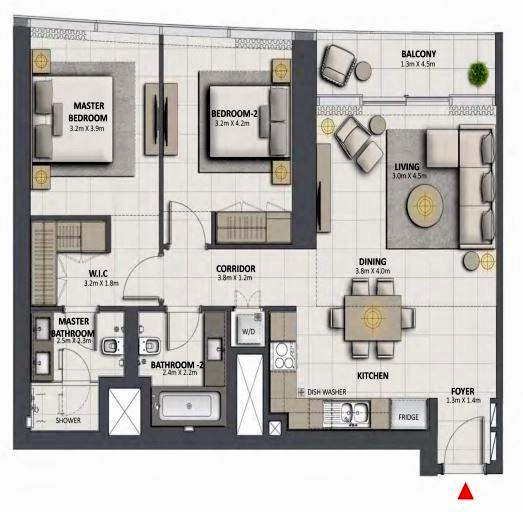 Planning of the apartment 2BR, 1137.1 in Grande at Opera District, Dubai