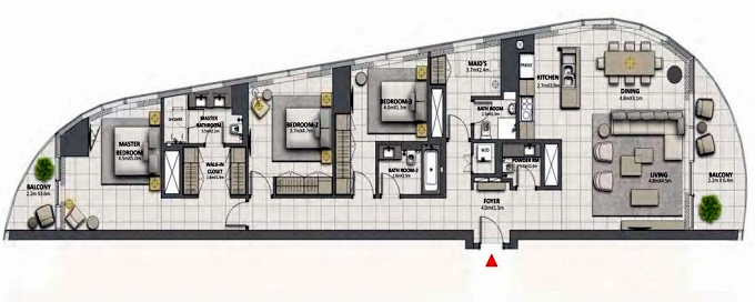 Planning of the apartment 3BR, 2148.69 in Grande at Opera District, Dubai