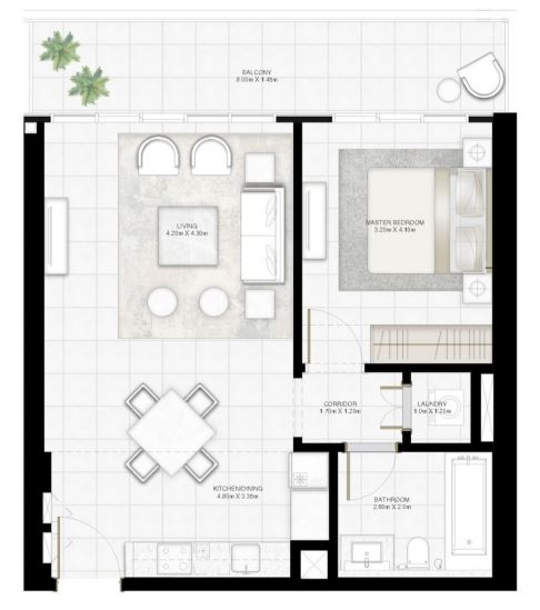 Planning of the apartment 1BR, 804.71 in Sunrise Bay, Dubai