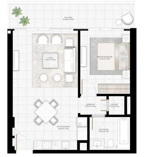 Planning of the apartment 1BR, 817.09 in Sunrise Bay, Dubai