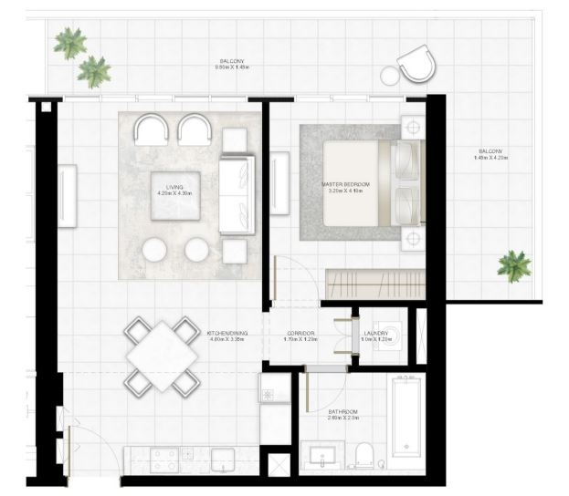 Planning of the apartment 1BR, 921.05 in Sunrise Bay, Dubai