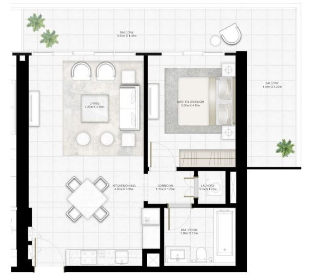 Planning of the apartment 1BR, 921.5 in Sunrise Bay, Dubai