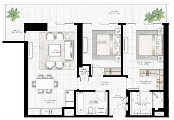 Planning of the apartment 2BR, 1263.9 in Sunrise Bay, Dubai