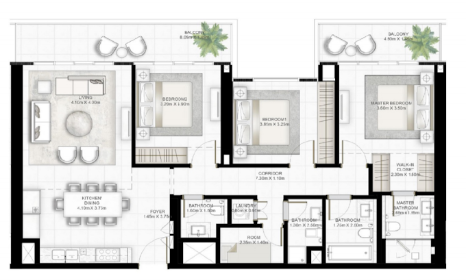 Planning of the apartment 3BR, 1534 in Sunrise Bay, Dubai