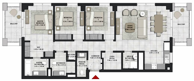 Planning of the apartment 3BR, 1491.99 in SURF, Dubai