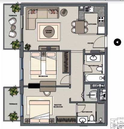 Planning of the apartment 2BR, 925.91 in Majestique Residence, Dubai