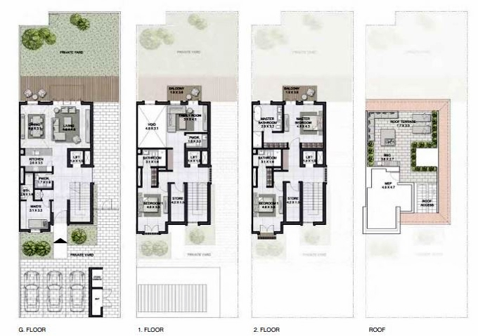 Planning of the apartment Townhouses 3BR, 3825 in Sur La Mer, Dubai