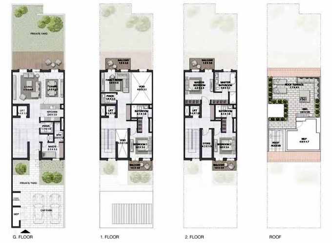 Planning of the apartment Townhouses 3BR, 3707 in Sur La Mer, Dubai