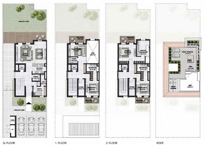 Planning of the apartment Townhouses 3BR, 3917 in Sur La Mer, Dubai